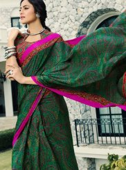 Abstract Print Crepe Silk Printed Saree in Green