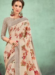 Abstract Print Fancy Fabric Casual Saree