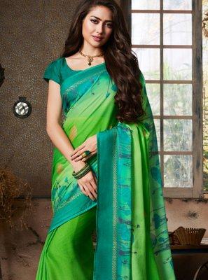 Abstract Print Fancy Fabric Printed Saree in Multi Colour