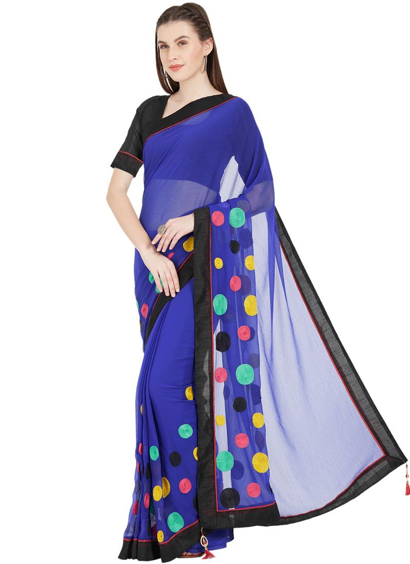 Abstract Print Faux Chiffon Blue Printed Saree