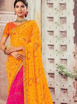 Abstract Print Faux Chiffon Hot Pink and Yellow Designer Half N Half Saree
