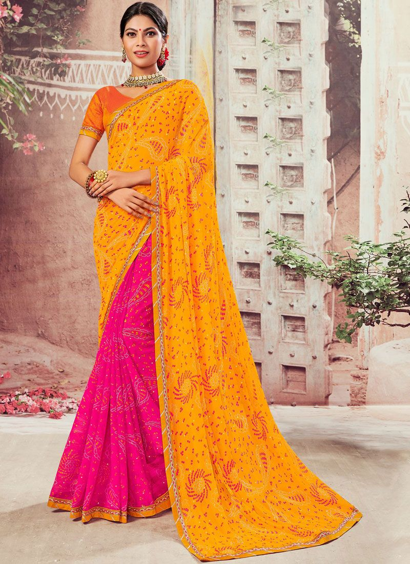 Abstract Print Faux Chiffon Hot Pink and Yellow Designer Half N Half Saree