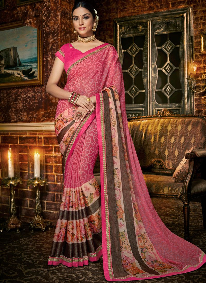 Abstract Print Faux Chiffon Multi Colour Printed Saree