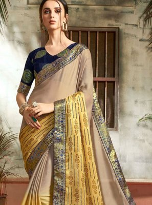 Abstract Print Faux Chiffon Printed Saree in Multi Colour