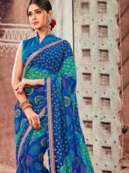 Abstract Print Faux Chiffon Shaded Saree