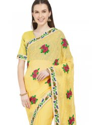 Abstract Print Faux Chiffon Yellow Printed Saree