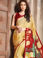Abstract Print Faux Crepe Casual Saree