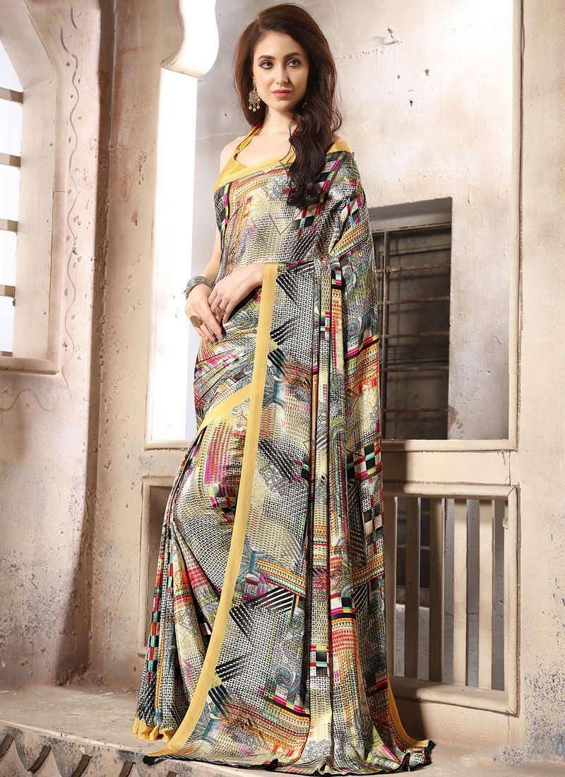 Abstract Print Faux Crepe Casual Saree in Multi Colour