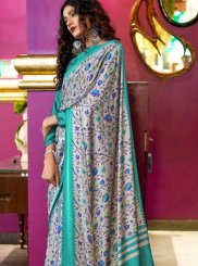 Abstract Print Faux Crepe Printed Saree