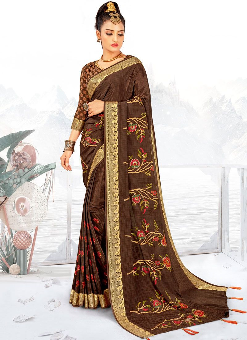 Abstract Print Faux Crepe Printed Saree in Brown