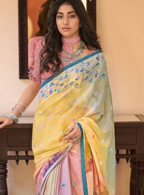 Abstract Print Faux Crepe Printed Saree in Multi Colour