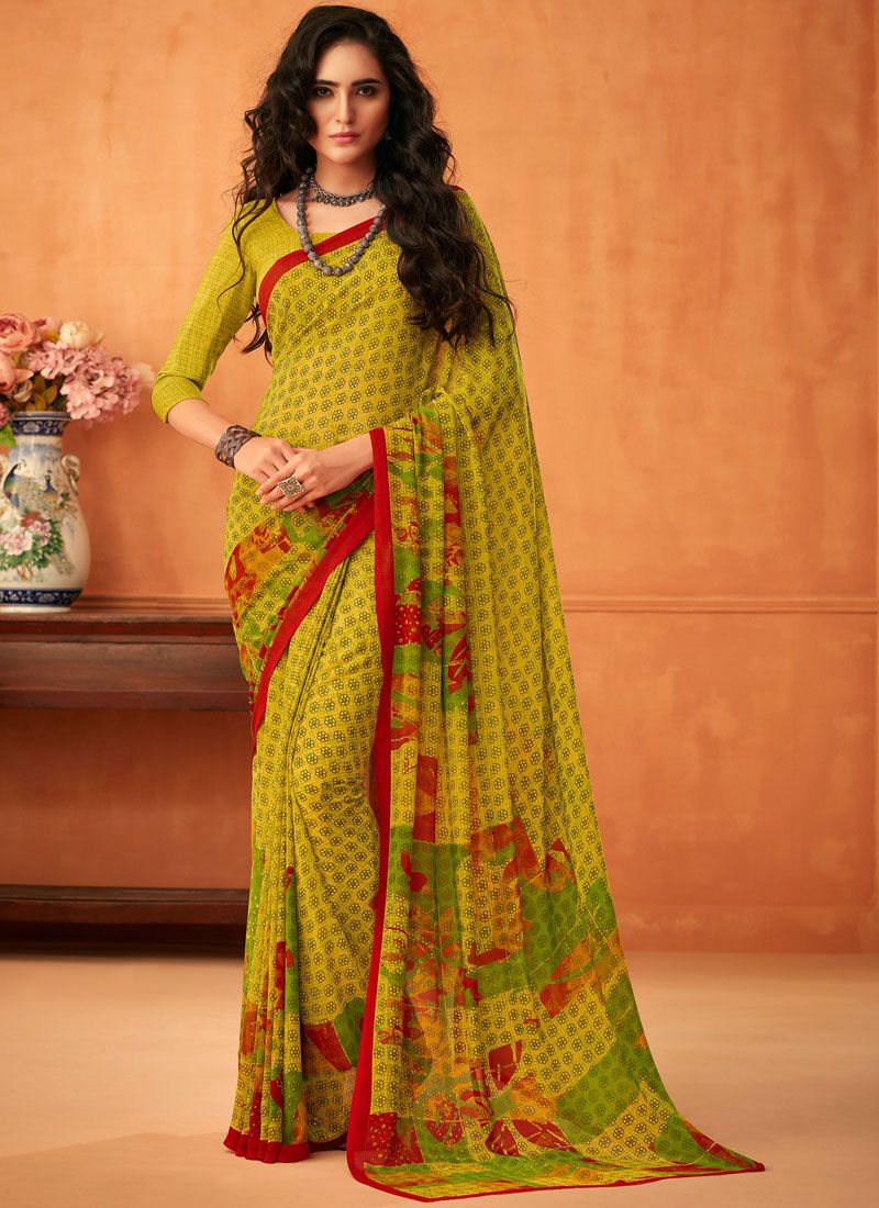 Abstract Print Faux Georgette Printed Saree