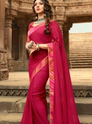 Abstract Print Faux Georgette Printed Saree in Hot Pink