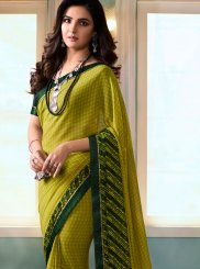 Abstract Print Faux Georgette Printed Saree in Multi Colour