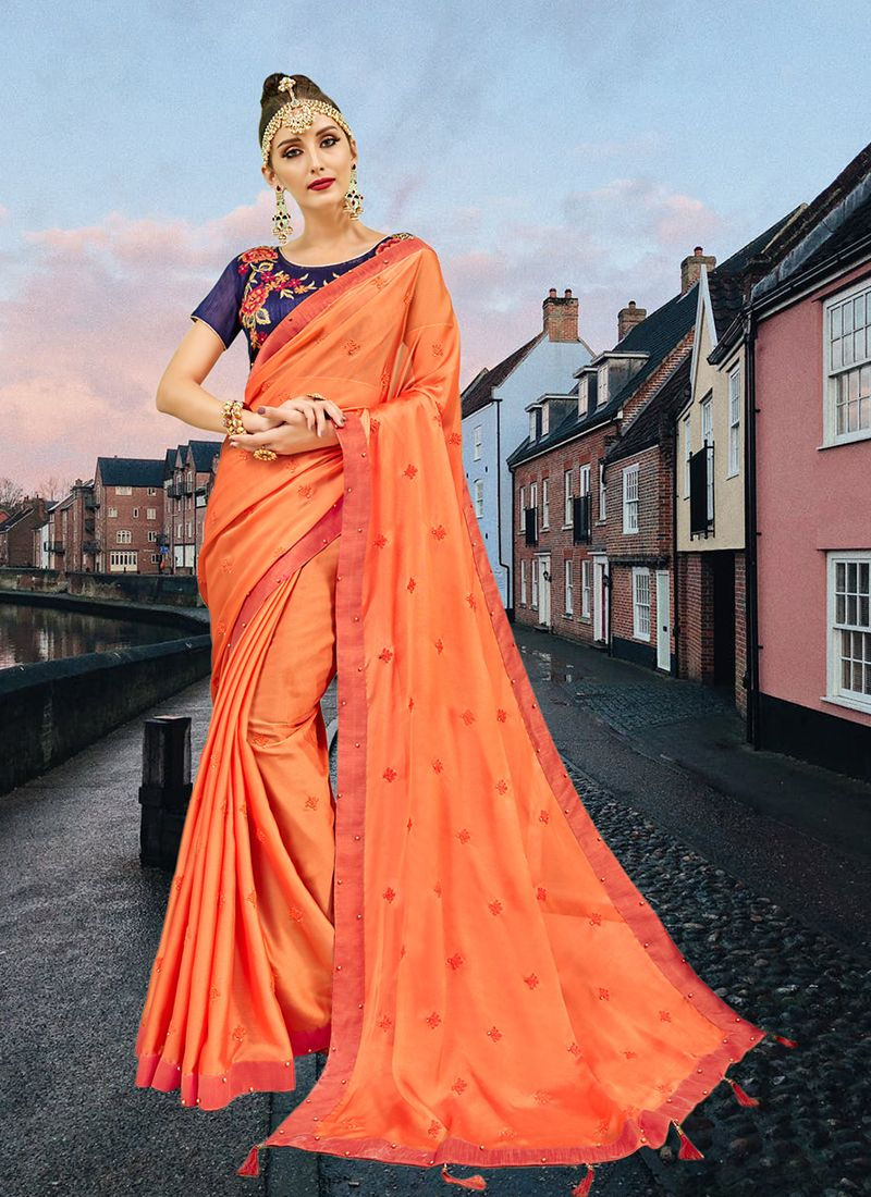 Abstract Print Faux Georgette Printed Saree in Orange