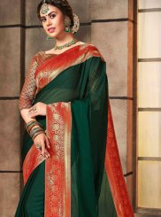 Abstract Print Georgette Satin Green Designer Saree