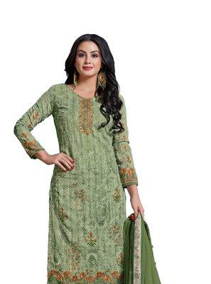 Abstract Print Green Churidar Designer Suit