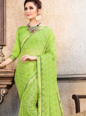 Abstract Print Green Faux Chiffon Printed Saree