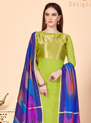 Abstract Print Green Jacquard Silk Churidar Suit
