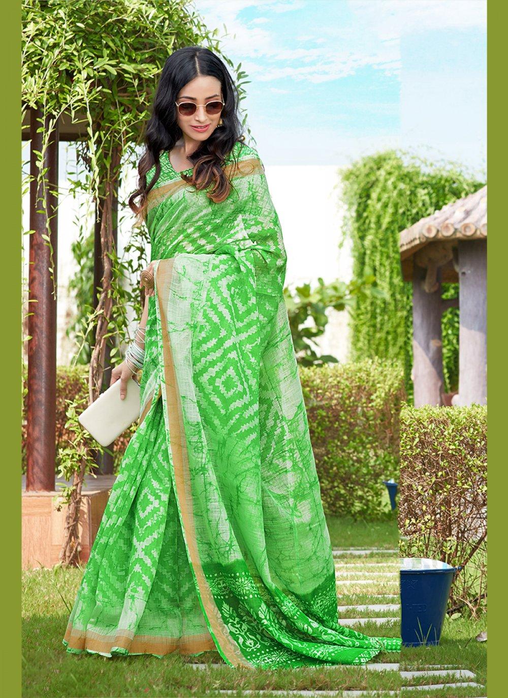 Abstract Print Green Net Printed Saree