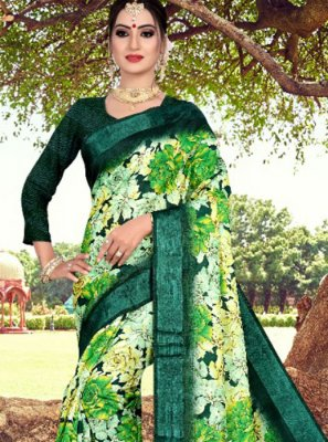Abstract Print Green Printed Saree