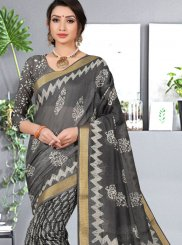 Abstract Print Grey Cotton Silk Printed Saree