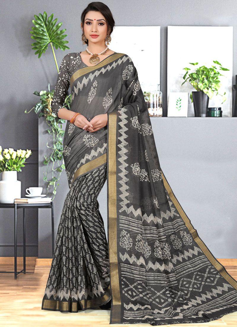 Abstract Print Grey Cotton Silk Printed Saree