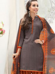 Abstract Print Grey Faux Crepe Punjabi Suit