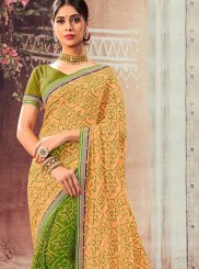 Abstract Print Half N Half Designer Saree