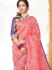 Abstract Print Jacquard Pink Saree