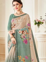 Abstract Print Linen Casual Saree