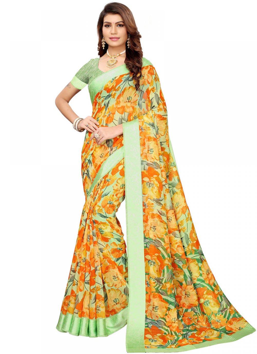 Abstract Print Linen Multi Colour Printed Saree