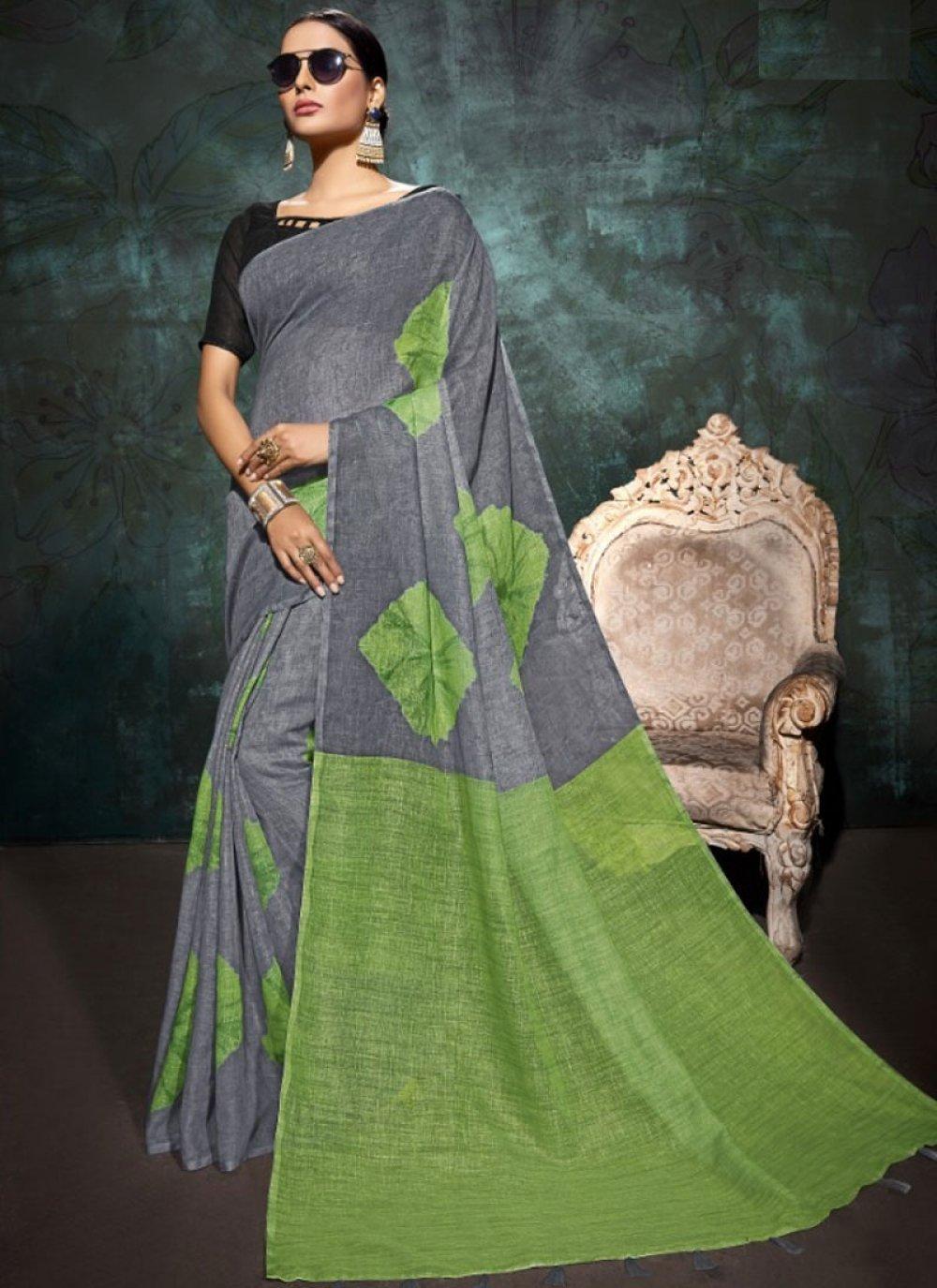 Abstract Print Linen Printed Saree