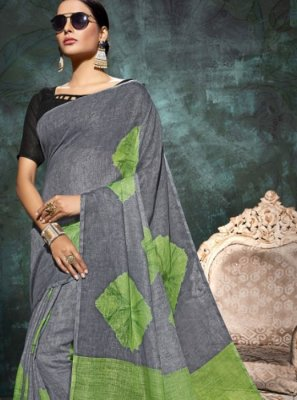 Abstract Print Linen Printed Saree