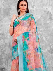 Abstract Print Linen Printed Saree in Multi Colour
