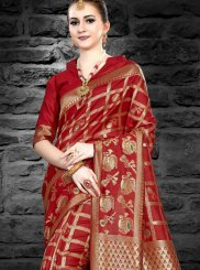 Abstract Print Maroon Silk Traditional Saree