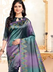 Abstract Print Multi Colour Art Silk Designer Traditional Saree