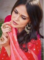 Abstract Print Multi Colour Art Silk Printed Saree