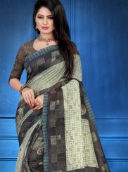 Abstract Print Multi Colour Art Silk Printed Saree