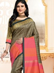 Abstract Print Multi Colour Art Silk Traditional Designer Saree