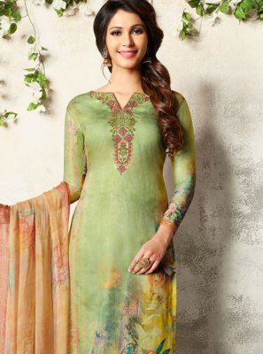 Abstract Print Multi Colour Churidar Designer Suit