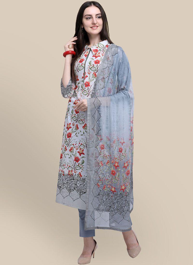 Abstract Print Multi Colour Cotton Designer Suit