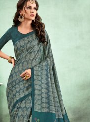 Abstract Print Multi Colour Fancy Fabric Casual Saree