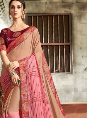 Abstract Print Multi Colour Faux Chiffon Printed Saree