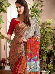 Abstract Print Multi Colour Faux Crepe Casual Saree