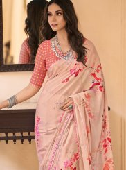 Abstract Print Multi Colour Faux Crepe Printed Saree