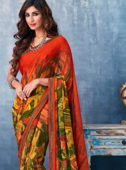 Abstract Print Multi Colour Faux Georgette Printed Saree