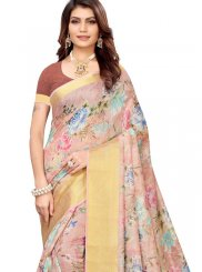 Abstract Print Multi Colour Linen Printed Saree