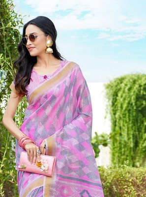 Abstract Print Multi Colour Net Printed Saree