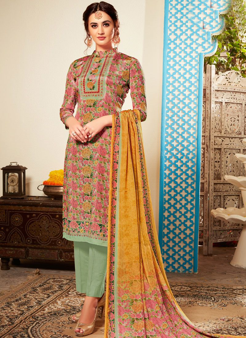 Abstract Print Multi Colour Pant Style Suit